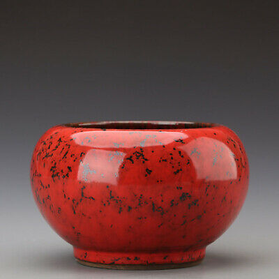 """6.3"""" Chinese Old Fine Porcelain yongzheng jun marked red glaze Brush Washer a191"""