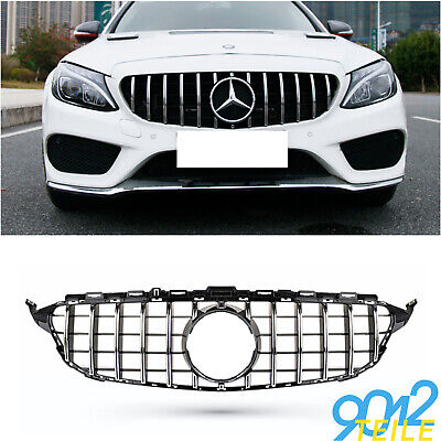 für Mercedes GT LOOK Grill W205 S205 Limo GLANZ CHROM Kühlergrill Frontgrill