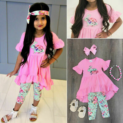 3Pcs Set Kids Girls Bunny Cute Tops Blouse + Pants Leggings Outfits Clothes New
