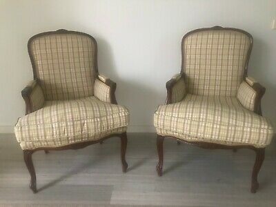 French Provincial Armchair x 2 Covered in classic English material. Excellent