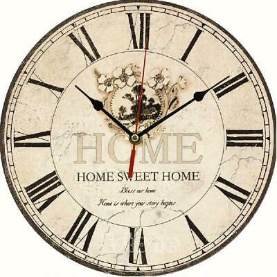 Large Vintage Rustic Wooden Wall Clock Kitchen Antique Shabby Chic
