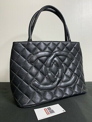 Authentic Chanel Black Quilted Caviar Leather Cc Logo Medalion Tote Bag Gold