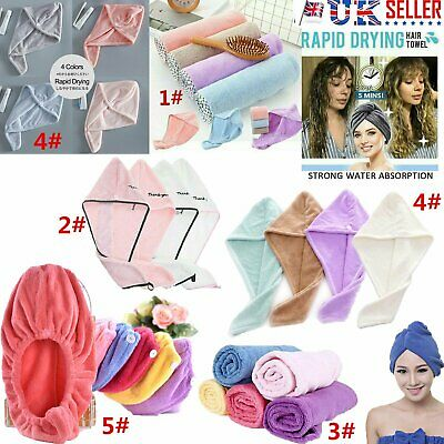 RAPID DRYING HAIR TOWEL - Thick Absorbent Shower Cap Fast 13 Colours UK
