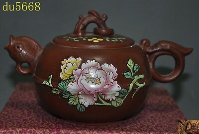 "7"" Chinese Yixing zisha pottery painted flower fish teapot tea set pot Tea maker"