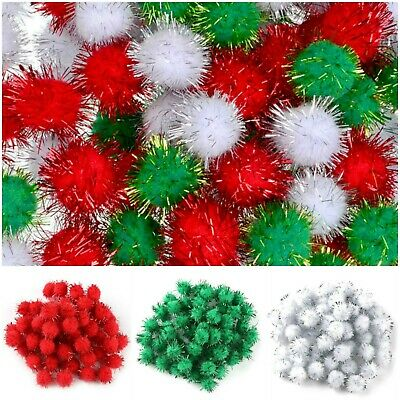 Glitter Tinsel Pom Poms 8 mm Christmas Pompoms Packs of 144