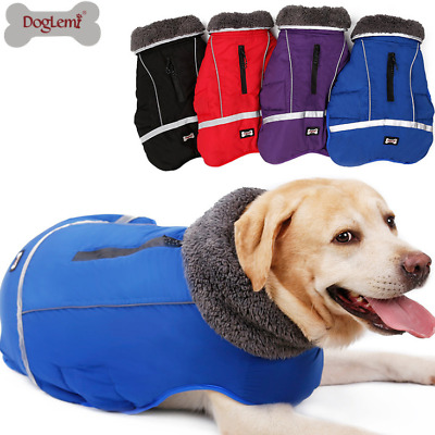 XMAS Pet Dog Winter Coat Waterproof Jacket Reflective Clothes Warm Fleece Padded