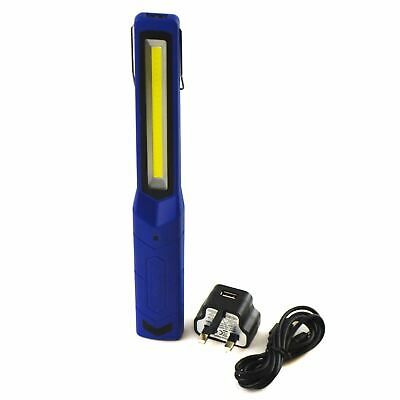 Slim Super Bright Rechargeable Work COB Light Torch Mains And USB Charger