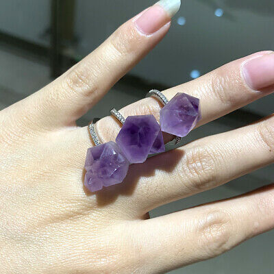Natural Raw Rough Amethyst Crystal Ring Purple Specimen Adjustable Ring