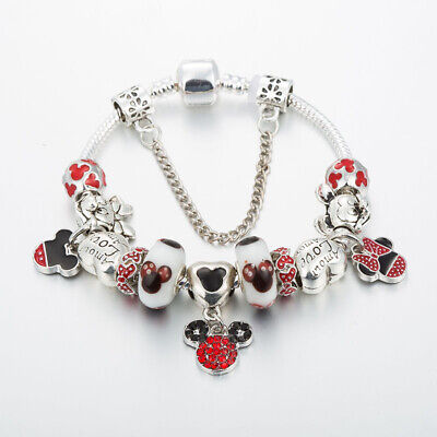 "NEW Pandora SILVER FASHION BRACELET WITH ""Minnie Heart"" EUROPEAN CHARMS"