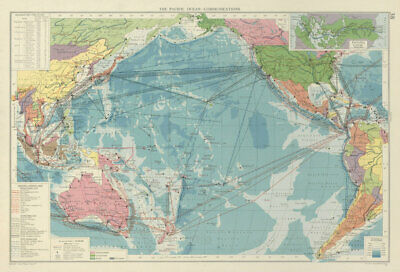 Pacific Ocean. Cables & Wireless Stations. Shipping lines companies 1959 map