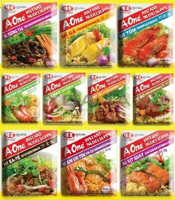(5,33€/1kg) A-One [ 30x 85g ] Instant Nudelsuppe [ 10 leckere Sorten, je 3x ]
