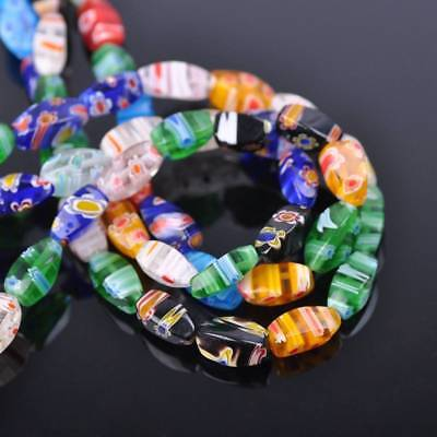 20PCS 6*12mm Twisted Barrel Millefiori  Glass Loose Spacer Beads Random Mixed