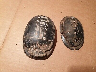 Scarce Antique Ancient Egyptian 2 Scarab Good Luck & Life Hiroglyphic1450BC