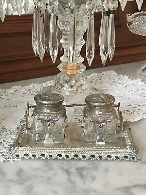 Antique 1890s Victorian Double Inkwell Silver Plate Glass Repousse Design Dated