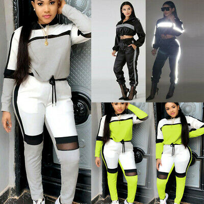 Brief Women Reflective Long Sleeve Hooded Pullover T-Shirt Pants Sports Set C73