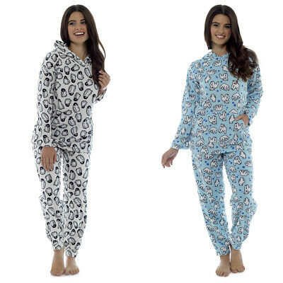 Womens Ladies Hooded Fleece Warm Lounge wear Pyjama Set Twosie Pjs Pants Top