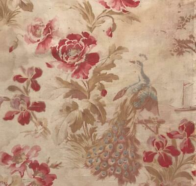 BEAUTIFUL LATE 19th CENTURY TOILE DE JOUY PEACK ROSES ref projects 377