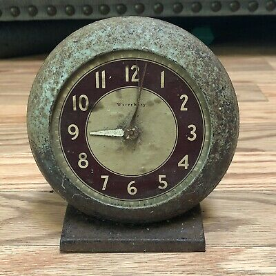 Vintage 1930s Waterbury Art Deco Alarm Clock For Decor Shabby Non Working