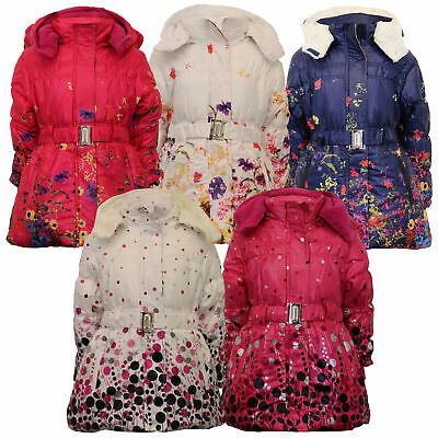 Girls Padded Jacket Kids Coat Quilted Polka Dot Hooded Sherpa Fleece Belt Winter
