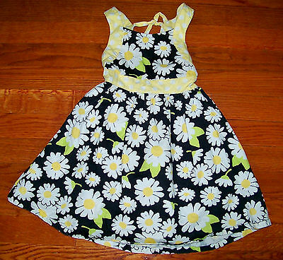 Girls GYMBOREE Black Yellow White Green Polka Dot Flower Dress Size 3 / 3T
