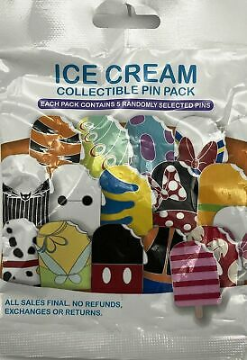 Disney Parks Ice Cream Pin Pack Popsicle Mystery Pack 5 Pins Sealed New Bag