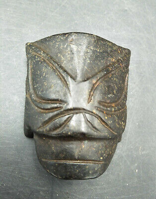 Hongshan culture Magnetic jade stone carved Person's face jade pendant XB455