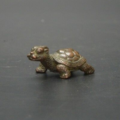 Chinese old collection handwork red copper dragon turtle Tea pet statue  a396