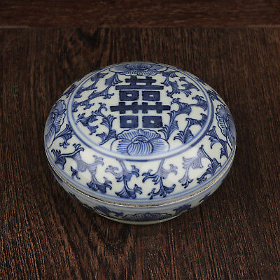 Chinese antique Porcelain Qing guangxu painting flower xi Inkpad box Collection