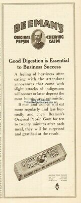 1920 Beemans Pepsin Chewing Gum American Chicle Co Good Digestion Success ad