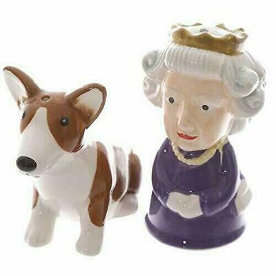 Queen and Corgi Ceramic Salt Pepper Set British