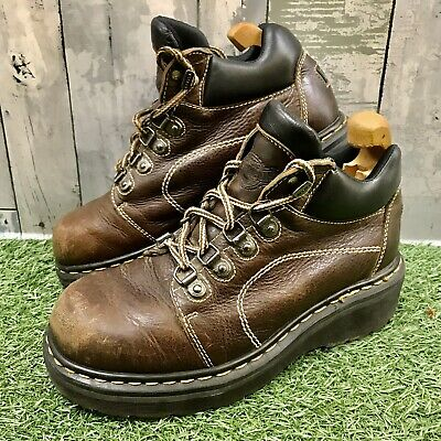 Vintage Dr Martens AW004 England Chunky Brown Leather Boots Size UK 7 EU 41 US 8