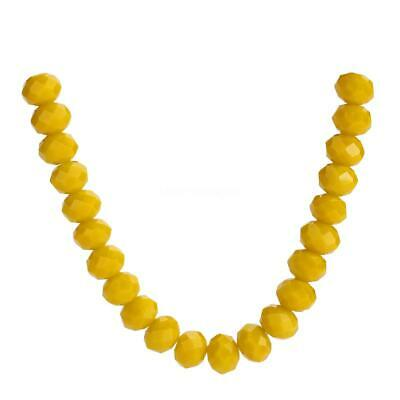 Rondelle Glass 4-12mm Wholesale Crystal Spacer Loose Beads Opaque Yellow Faceted
