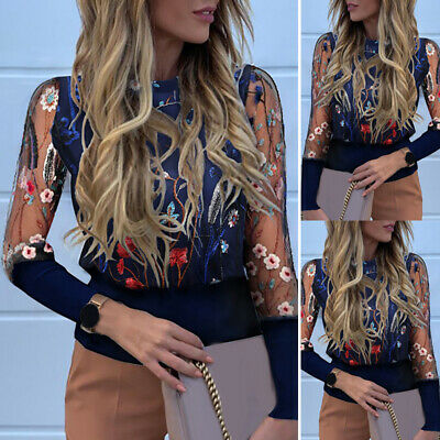 Women Floral Lace Mesh Sheer T-Shirt See-through Long Sleeve Sexy Tops Blouse