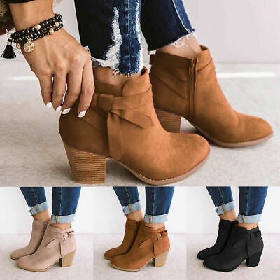 Ladies Winter Ankle Boots Womens Chelsea Block Chunky Heel Zip Up Shoes Size
