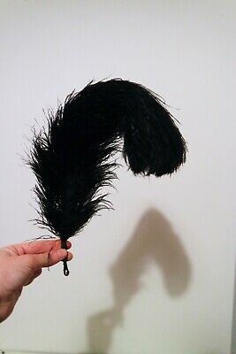 Vintage old french black feather headpiece flapper 20s costume
