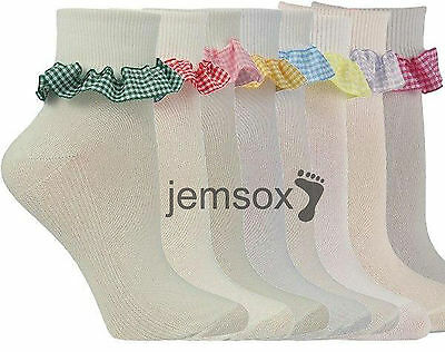 3 Pairs Girls Gingham Frilled Cotton School Ankle Socks UK Made Various Colours