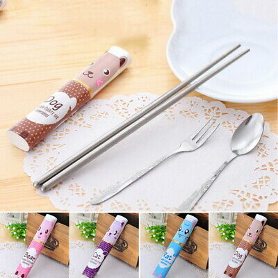 3PCs New Stainless Steel Cutlery Set Spoon Fork Chop Tableware Dining Utensil