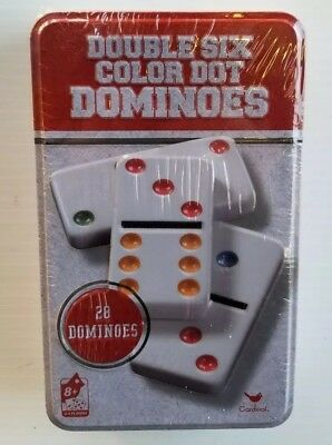 Double Six 6 Dominoes 28 Color Dot Cardinal Classic Games Metal Tin Brand New