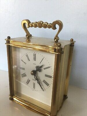 Vintage Heavy Solid Brass Smiths Sectronic Battery Quartz Carriage mantle Clock