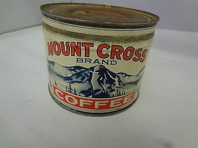 Vintage Mount Cross Coffee With Original Lid  Advertising Collectible  466-U
