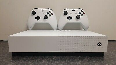 Microsoft Xbox One S White 1TB All-Digital Edition Console + 2 Control Pads