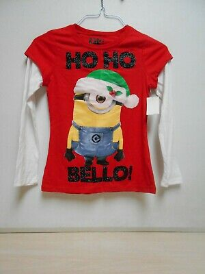 Adorable Minion Long Sleeve T-Shirt SIZE XS 4-5T Girl's NEW W/Tags Christmas Top