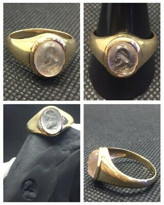 RARE ANCIENT SOLID GOLD ROMAN RING c 1st /3rd Cent AD With Intaglio..!?...Roman