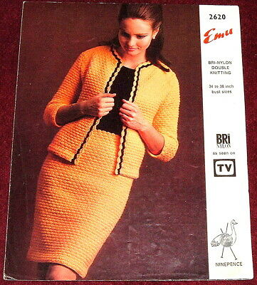 VINTAGE EMU DK Knitting Pattern..WOMENS DRESS & JACKET 1970's