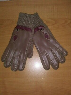 English Village Ladies Driving Gloves Brown Tan With Red Accents NWT