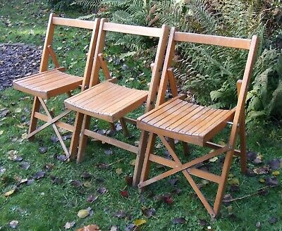 Vintage/Retro 1950's Folding Wooden Chairs ~ Chapel/Church Hall/Camping/Deck