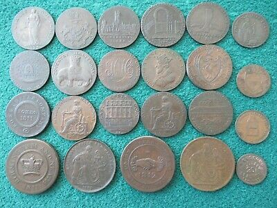 Bulk Lot. UK 18th & 19th Century Copper Tokens , Farthing to Penny , Nice Lot.