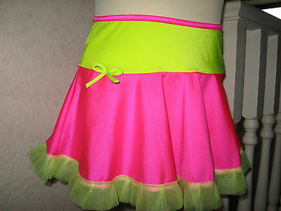 girls Dance skirt Pink Yellow Black Green Blue Frilly competition Skater disco