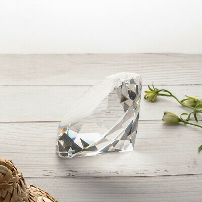 Clear Glass Crystal Diamond Shape Paperweights Facet Jewel Wedding Gift 80mm