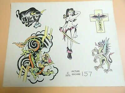 Vintage 1976 RARE PICTURE MACHINE Tattoo Flash Sheet #157 Risque Nude Bull